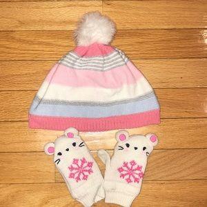 Gymboree 12-24 months gloves hat pink baby girl